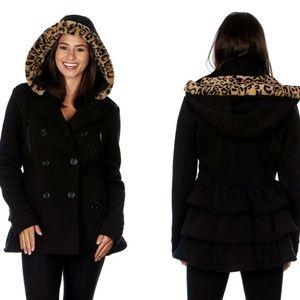 Yoki Women'S Leopard Faux Fur Hooded Fleece